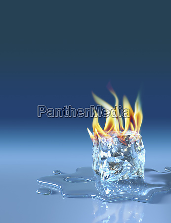 flaming ice cube