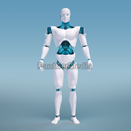 portrait of white android on blue