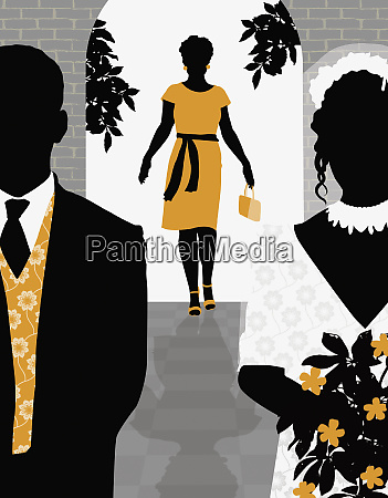 woman arriving at wedding