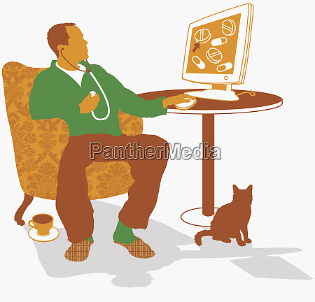 man searching internet for medical diagnosis