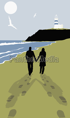 footprints behind couple walking on sunny