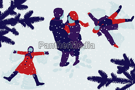 couple hugging and children making snow