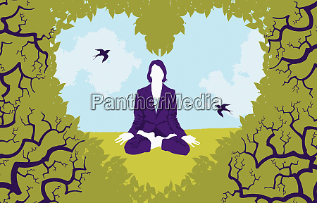 view of woman sitting in lotus