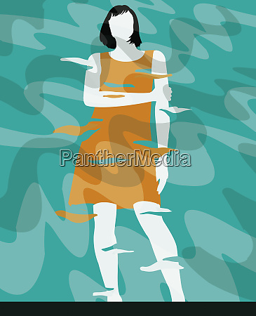 depressed woman standing with arms crossed