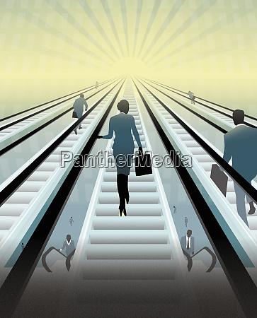 business people ascending escalators toward sun