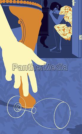 man reaching for empty wine glass