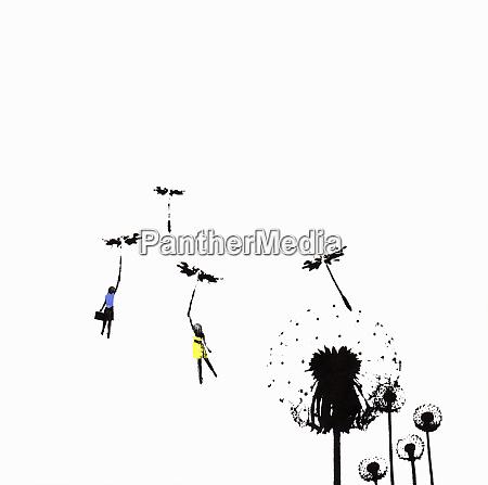 people floating away on dandelion seed