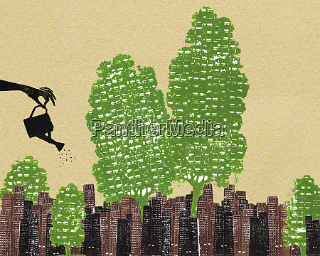 hand watering trees in urban city