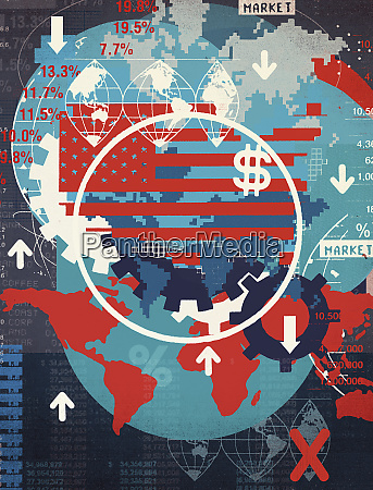 montage of map images and financial
