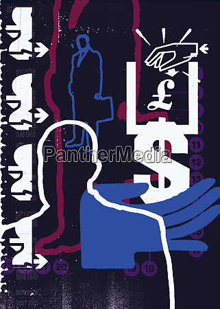 hands currency symbols and businessmen