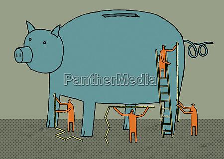 businessmen measuring piggy bank