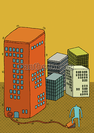 person inflating highrise