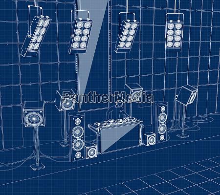 disc jockey mixing music on sound