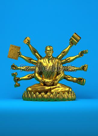 gold statue of businessman as buddha