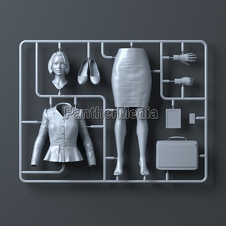 plastic assembly kit for businesswoman