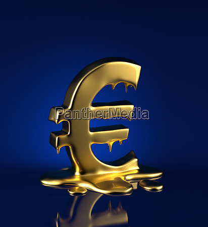 shiny gold euro sign melting
