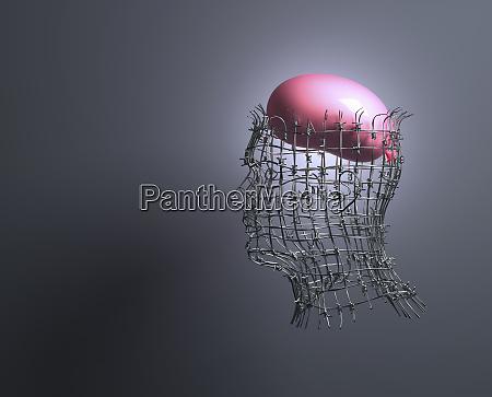 balloon brain inside of mans head