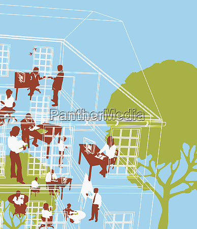businesspeople working in eco friendly office