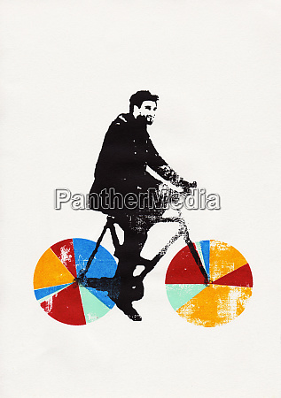 businessman riding bicycle with multicolored pie
