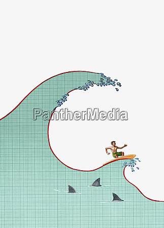 man surfing on financial wave