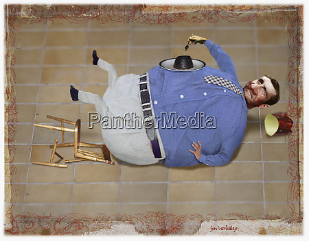 fat man falling over in chair