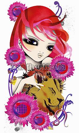 astrology woman with leo zodiac symbol