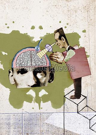 analyst examining mans brain