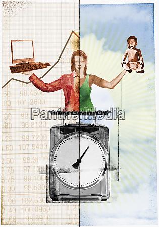 woman balancing career and family