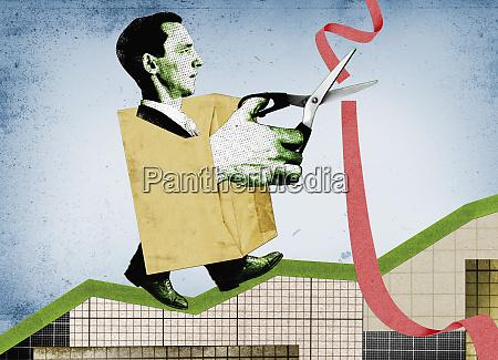 businessman cutting red tape