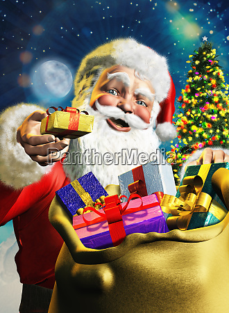 santa claus offering gift from sack