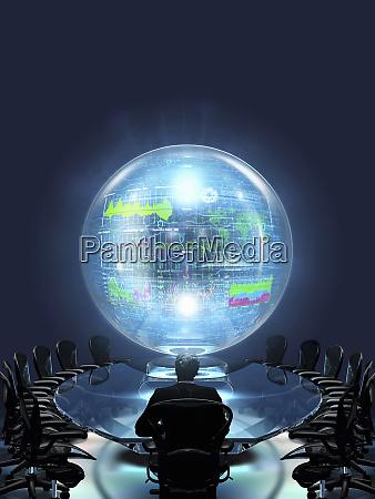 businessman staring at data inside large