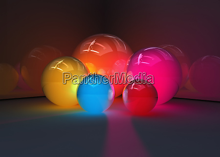 abstract glowing colorful spheres