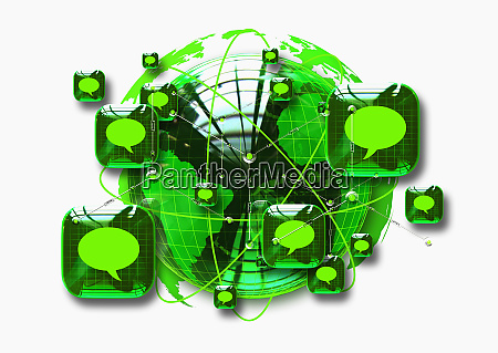 green globe surrounded by squares containing