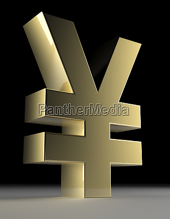 close up of chinese yen symbol