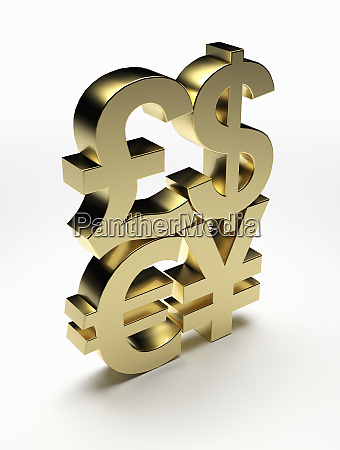 stacked gold currency symbols