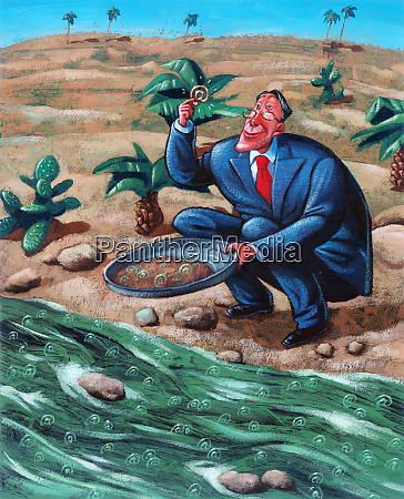 businessman with gold pan finding at