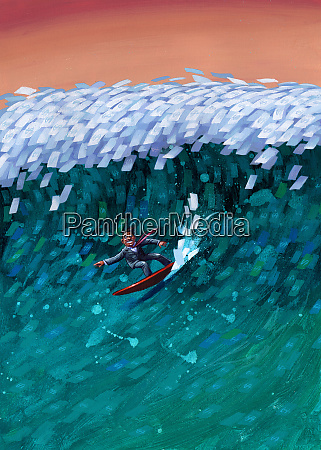 businessman surfing on money wave