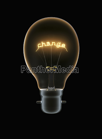 light bulb with text change