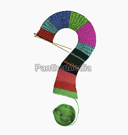 yarn knitted into question mark