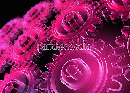 digitally generated pink glowing interconnected transparent