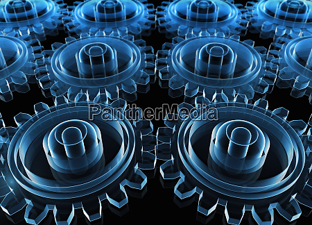 digitally generated blue interconnected transparent cogs