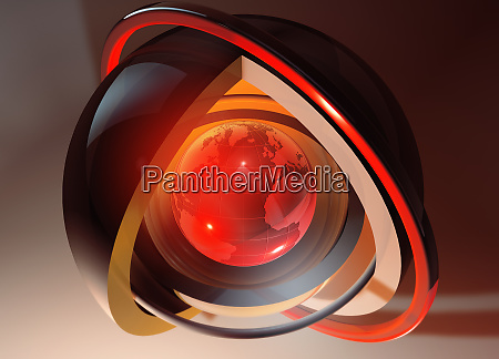 abstract glowing red globe at core