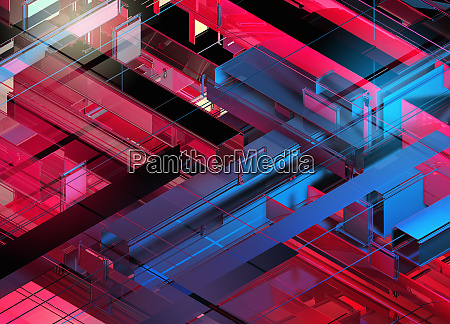 abstract red and blue geometric grid