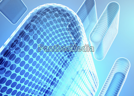 transparent abstract blue columns of circle