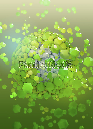 abstract sphere exploding into green polygon