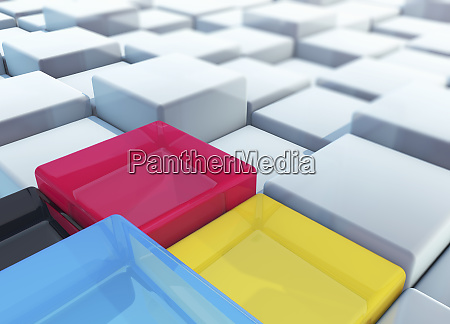 cmyk colored cubes standing out from