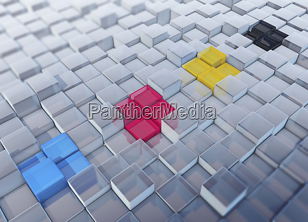 cmyk colored cubes standing out in