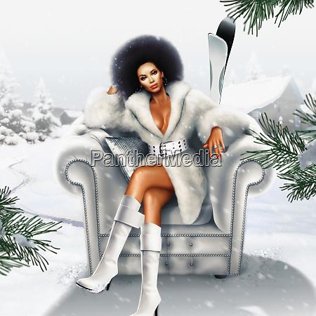 african woman in fur coat sitting
