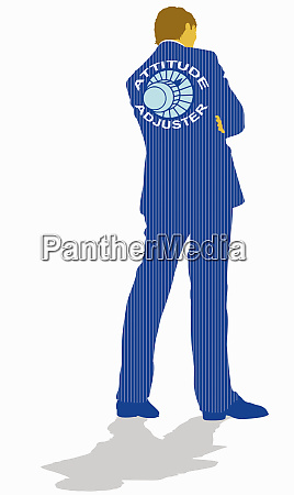 businessman with attitude adjuster dial on