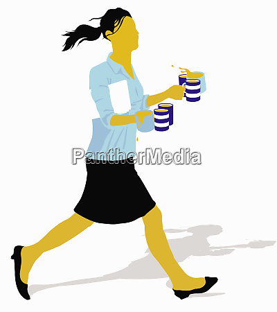 office worker running with coffee mugs